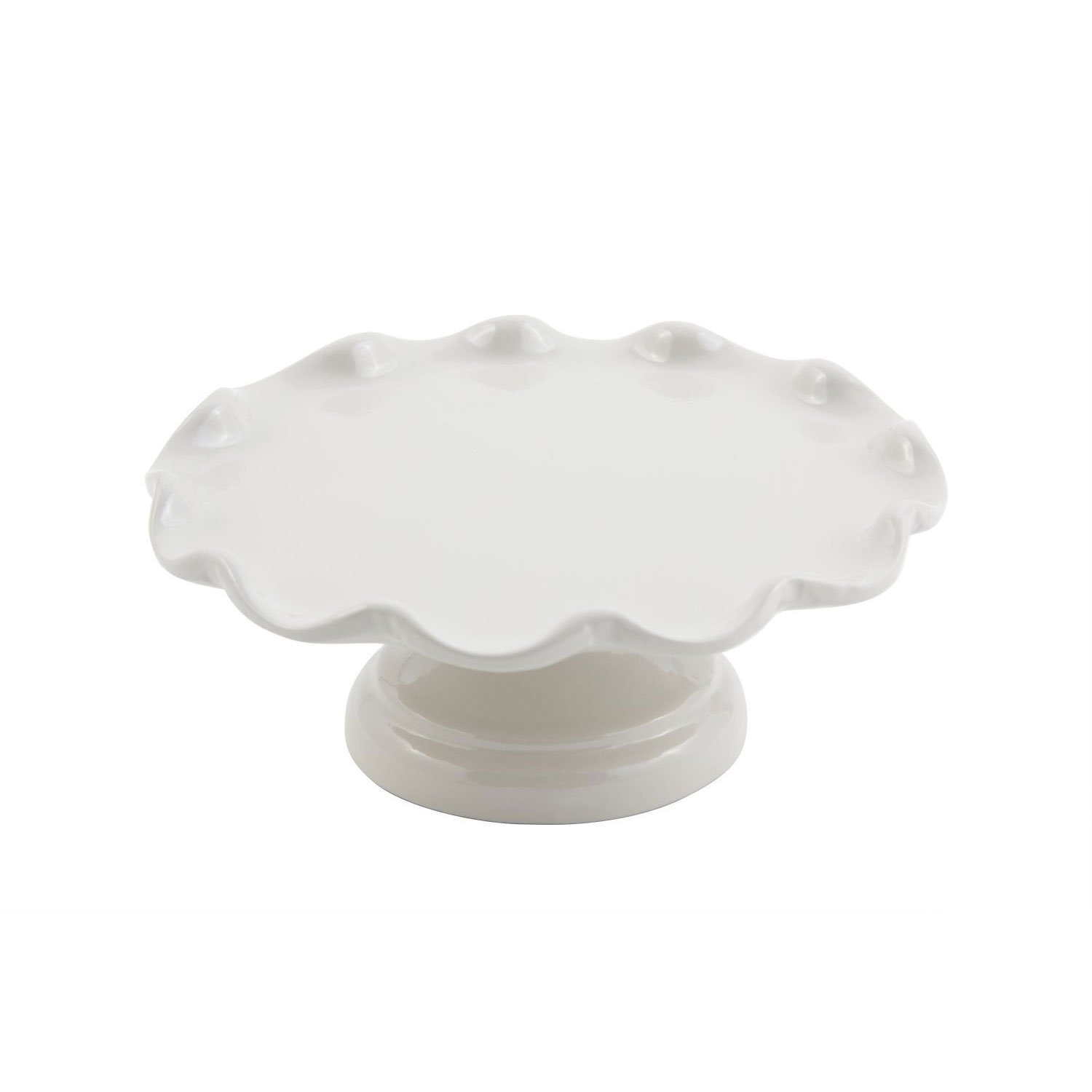 13 1/2 dia. x 4 inch Scalloped Cake Stand with Pedestal Sandstone White