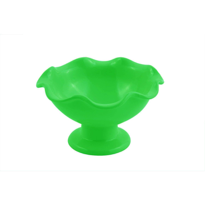 6 dia. x 3 3/8 inch Scalloped Pedestal Bowl Sandstone Calypso Green