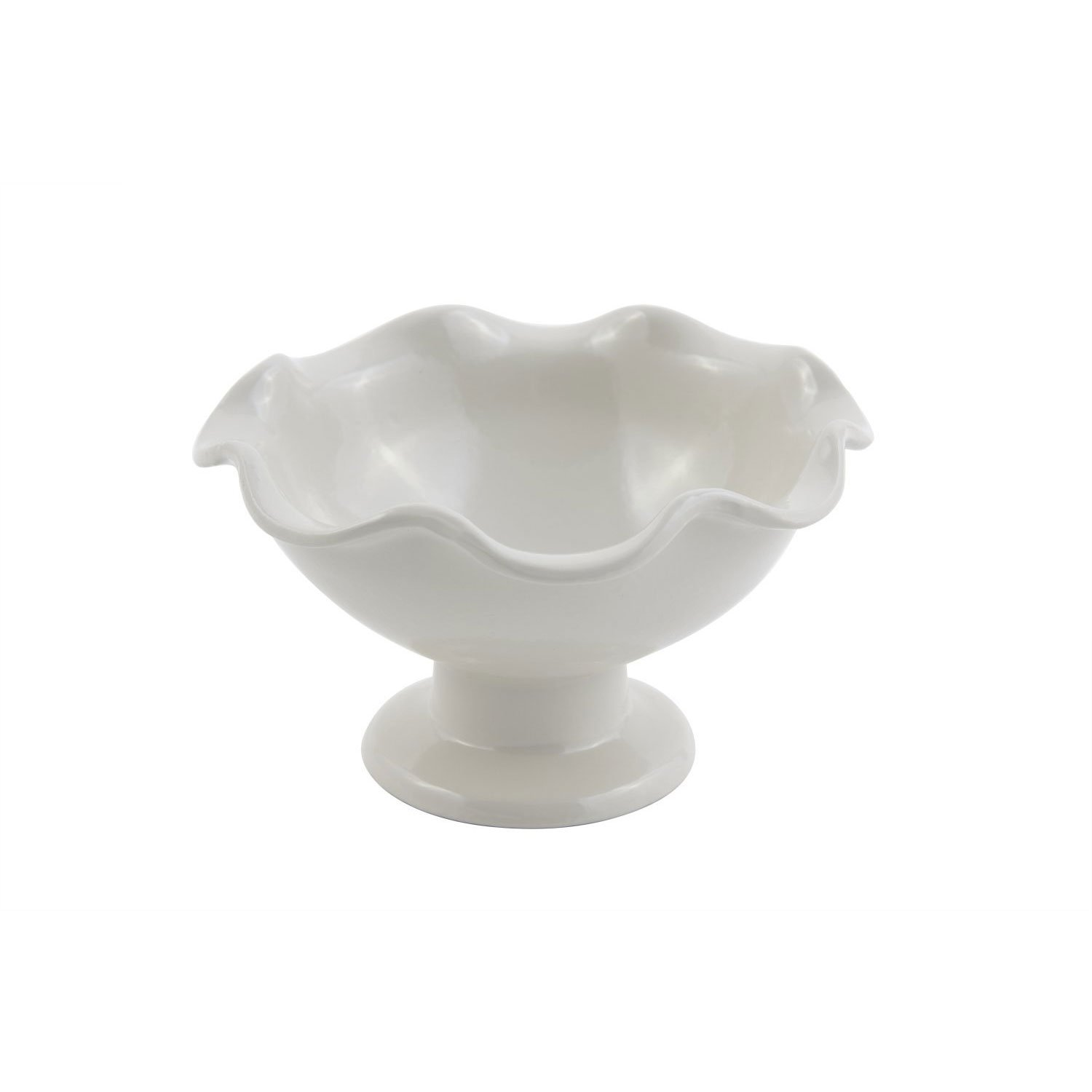 6 dia. x 3 3/8 inch Scalloped Pedestal Bowl Sandstone White