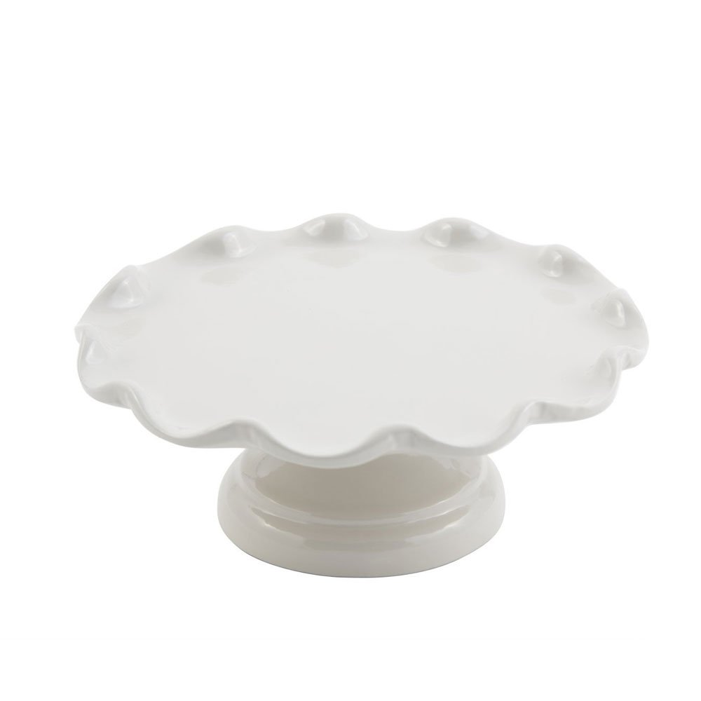 8 dia. x 3 inch Scalloped Cake Stand with Pedestal Sandstone White