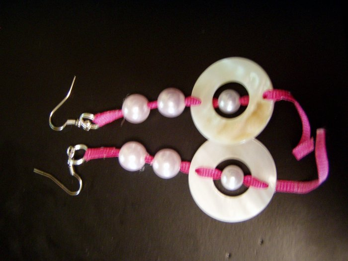 pink ribbon with pearls