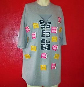 "NO BOUNDARIES Trojan Condoms on T-Shirt ""Zip It Up"" GREY size XL  women men"