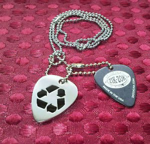 ZIK ZOK zikZok Jewelry GUITAR PICK with CHAIN Gothic Tribal Steel SILVER BLACK