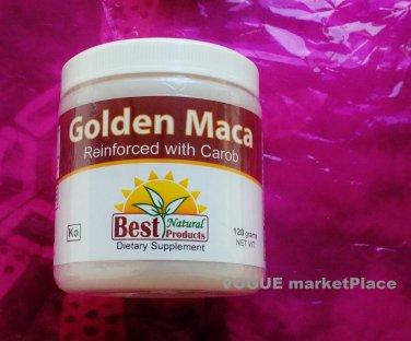 golden MACA HERB POWDER peruvian virility energy. CAROB FLAVOR 4.3 oz 120 grams