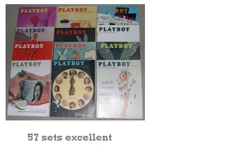 PLAYBOY 1957 MAGAZINES FULL YEAR JAN. ~ DEC. 57