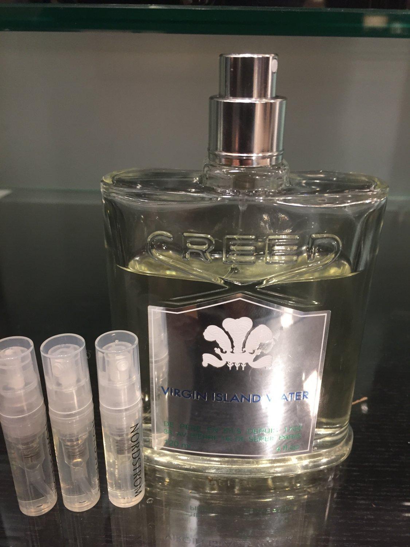CREED VIRGIN ISLAND WATER Eau De Parfum-THREE 1.7 ml Sample Spray Atomizers, 100% Authentic