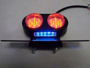 Black Motorcycle LED Tail Brake Stop Light License Plate Holder Harley Custom