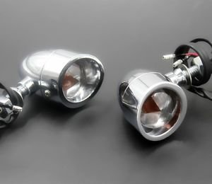 Pair Chrome TURN SIGNAL LIGHT for Harley Fatboy Dyna Heritage Softail Road King