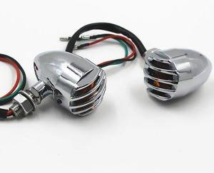 Pair Metal Chrome Amber Turn Signal Light Indicator For Suzuki Street Bike Racer