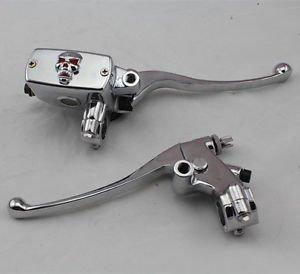"7/8"" Handlebar Skull Hand Control Reservoir Brake Clutch Levers Motorcycle Bikes"
