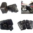 Pair Black 3MM COWHIDE Leather SADDLE BAGS FOR Harley Sportster Chopper Cruiser
