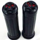 """1"""" Black SKULL Handlebar HAND GRIPS For Yamaha Cruiser Road Royal V-Star Custom"""