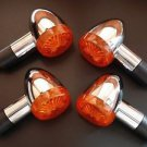 4xAmber Bullet Turn Signal Lights for Harley Bobber Custom Chopper Cafe Cruiser