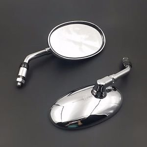 Big Oval Side Rear view Mirror Motorcycle Street Bike Cruiser Chopper CB VN VT