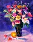 "BIG SALE: ""Cut Flowers"" A Floral Oil Painting by Listed California Artist Impressionism"