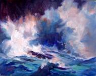 "CHOSEN FOR JURIED SHOW!: ""Crashing Waves""  Seascape Oil Painting by Listed Calif Artist"