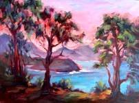"""""""Eucaliptus at Avala Beach"""" Landscape Oil Painting by Listed California Artist Impressionism"""