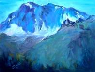 """Mt Lassen's First Snow"" Landscape oil painting by listed Cal artist, Impressionism"