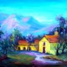 """The Mission"" Los Olivos Calif Landscape Oil Painting by Listed Artist Acosta"