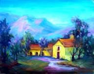 """""""The Mission"""" Los Olivos Calif Landscape Oil Painting by Listed Artist Acosta"""
