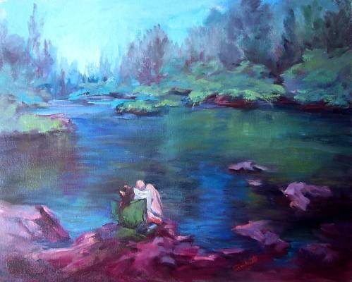 """""""At Peace With Nature"""" Plein Air California Landcape Listed Artist Impressionism"""