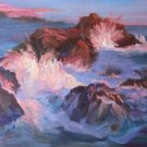 """Quiet Sunset With A Bang!"" Seascapes Oil Painting by Listed California Artist Impressionism"