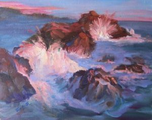 """""""Quiet Sunset With A Bang!"""" Seascapes Oil Painting by Listed California Artist Impressionism"""