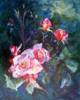 """A Rose Garden"" Floral Oil Painting by Listed Calif Artist Impressionism"
