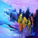 """Aspens Abstracted"" Original Fall Landscape by Listed California Artist"
