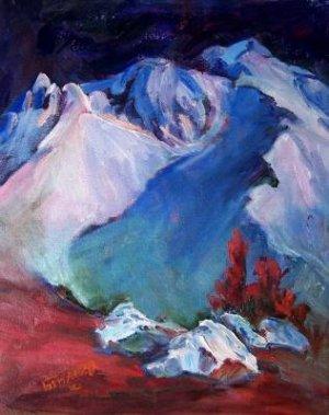 """Darkness At Mt Lassen"" California Plein-air Landscape Oil Painting Acosta Listed Artist"
