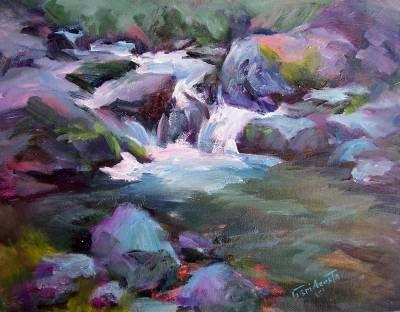 """Brandy Creekside"" Original Plein-Air California Landscape Listed Artist Acosta, Impressionism"