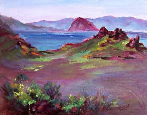 """Coastal Scene At Morro Bay"" Plein-Air Calif Landscape Oil Painting listed Artist Acosta"