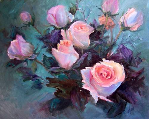 """EXHIBITION PIECE: """"Roses At Open House"""" Original Oil Painting Impressionism Listed  Artist Acosta"""
