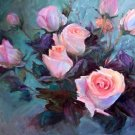 "EXHIBITION PIECE: ""Roses At Open House"" Original Oil Painting Impressionism Listed  Artist Acosta"