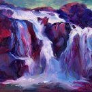 """Upper CrystalCreek Falls"" Original Calif Landscape Oil Painting Listed Artist"