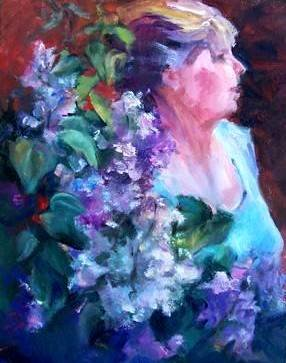"""Captured in Lilac"" Original Oil Painting Floral Portrait Acosta Artist"