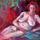 """Repose"" Original Oil Painting Nude Listed Calif Artist Acosta"