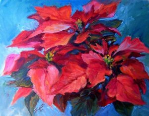 """Deck The Halls"" Orig Oil Painting Floral List Cal Artist Acosta"