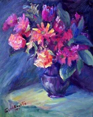 """DaisyMay"" Original oil painting still life listed  award-winning Acosta colorist"