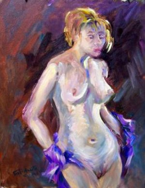 """Disrobing"" Orig oil painting Figure study by listed Acosta artist"