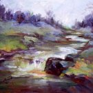 """Creek Impression"" Orig impressionistic oil painting Calif landscape"