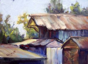 """""""Old Structures"""" Original oil painting landscape impressionism by listed Calif colorest Acosta"""