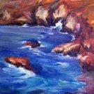 "SALE: ""Coastal Cliffs"" Original Calif landscape oil painting by winning colorest Acosta"