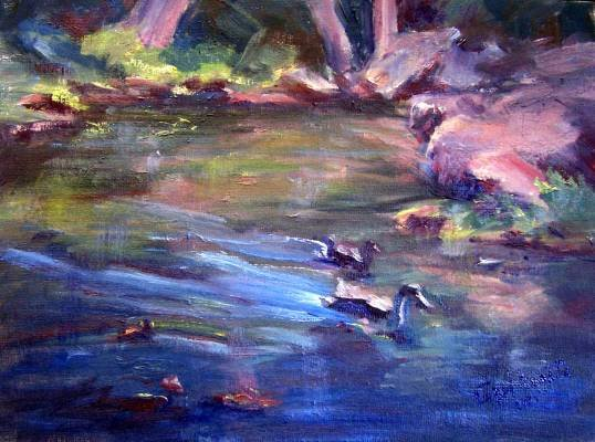 "SALE: ""Duckies"" Original landscape pond Calif oil painting list Acosta artist"
