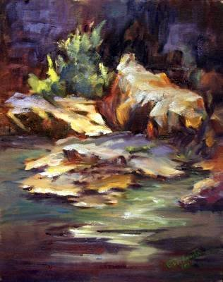 """""""Rock Formations"""" Original plein-air landscape oil painting listed Acosta artist"""