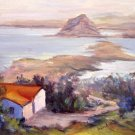 """Overlooking Morro Bay"" An orig Calif plein-air seascape by artist Geri Acosta"