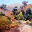 """Ranch Road"" Original plein-air Calif Landscape oil painting by artist Geri Acosta"