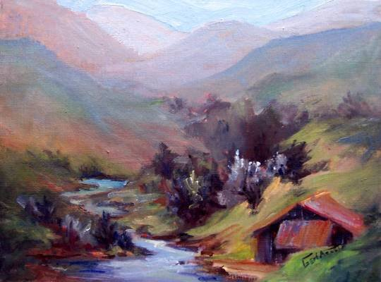 """SALE: """"Tucked Away"""" An original Calif Landscape Oil Painting by winning colorest Geri Acosta"""
