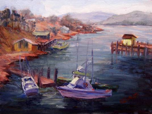 """Dockside"" Orig Calif Plein-air Seascape by listed artist Geri Acosta"
