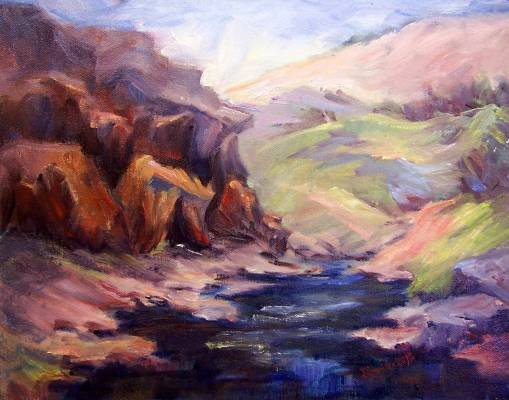 """Deer Creek Fantasy"" Original Calif Landscape Oil Painting by winning colorest Geri Acosta"